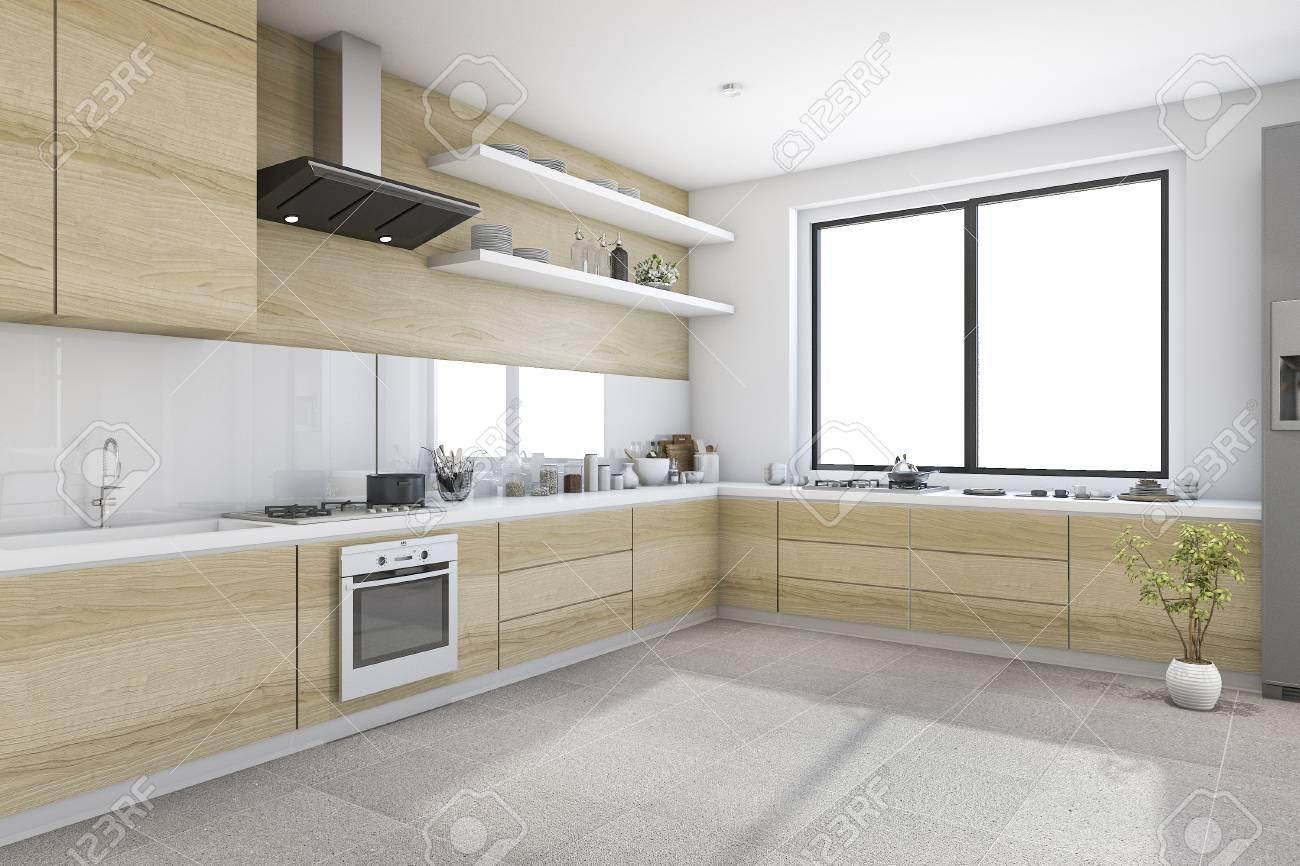 Immagini Stock - 3d Che Rende Cucina Minima Bianca Con La ...