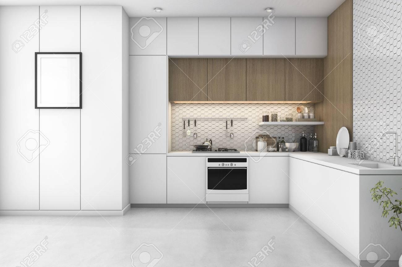 Rendu 18d blanc cuisine minimaliste avec décoration en bois