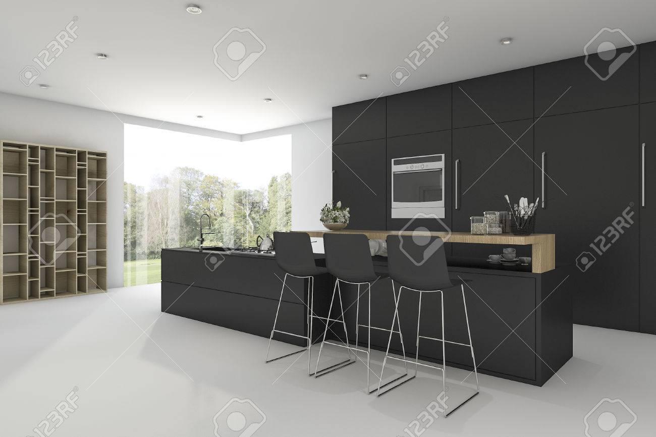 réception 3d de la cuisine noire avec vue de la fenêtre banque d