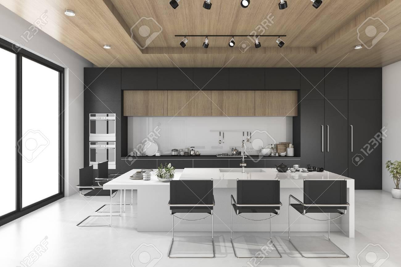 Réception 3D de cuisine noire avec plafond en bois