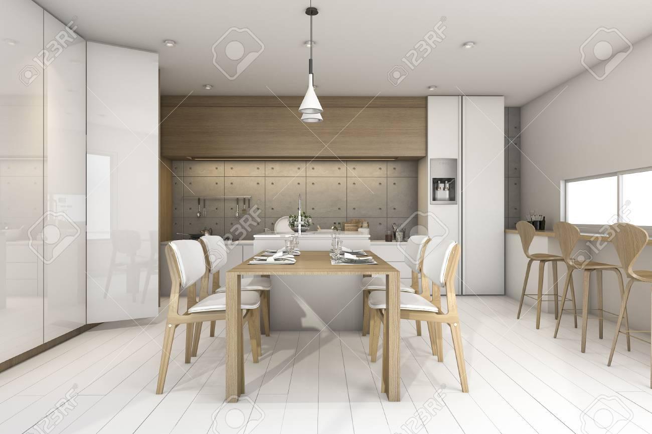 Immagini Stock - 3d Rendering Bianco Soppalco Disegno Cucina In ...