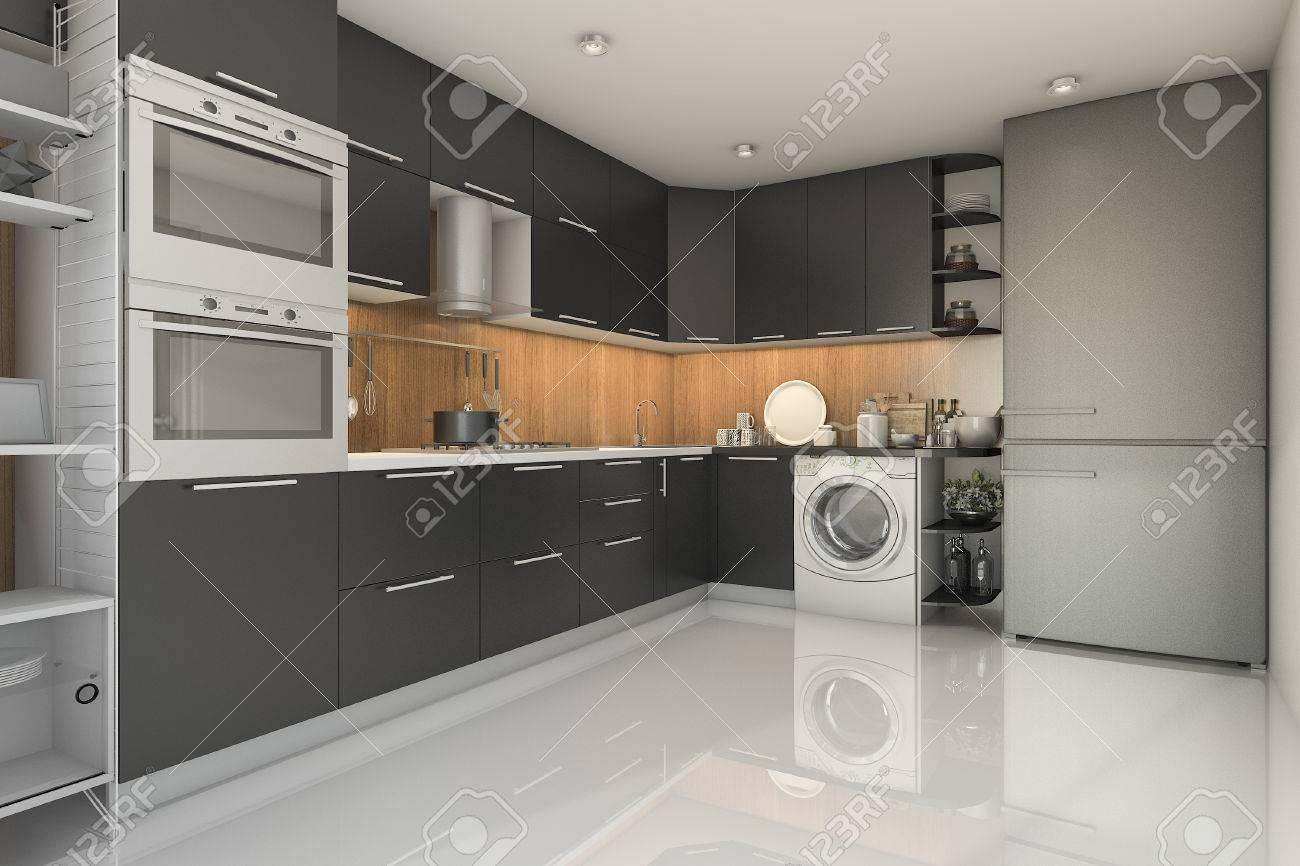 3d rendering loft modern black kitchen with washing machine