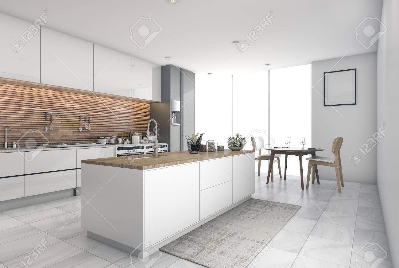 3d rendering contemporary kitchen bar in dining room stock photo
