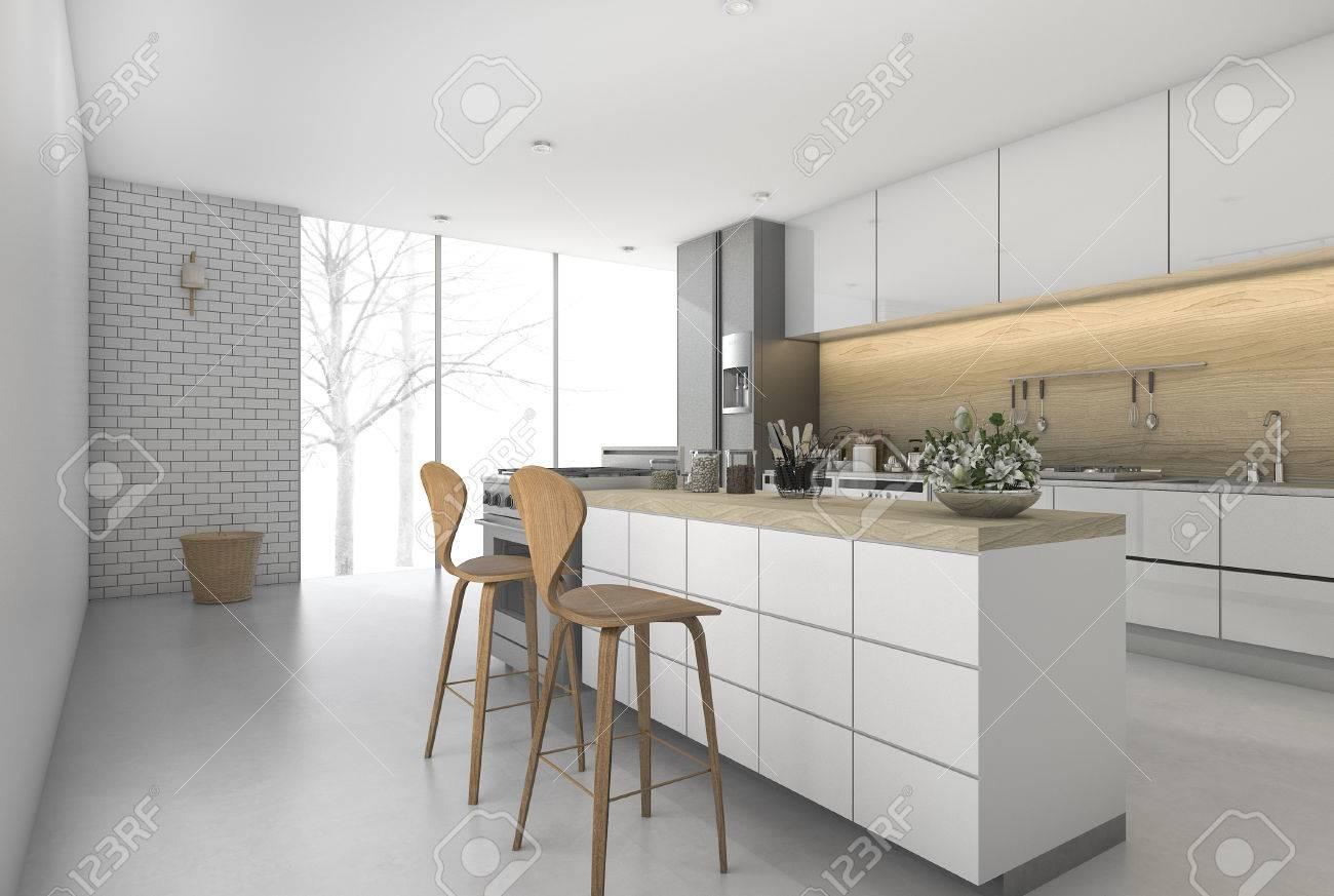 3d Rendering Minimal Küche Bar Mit Essbereich Lizenzfreie Fotos ...