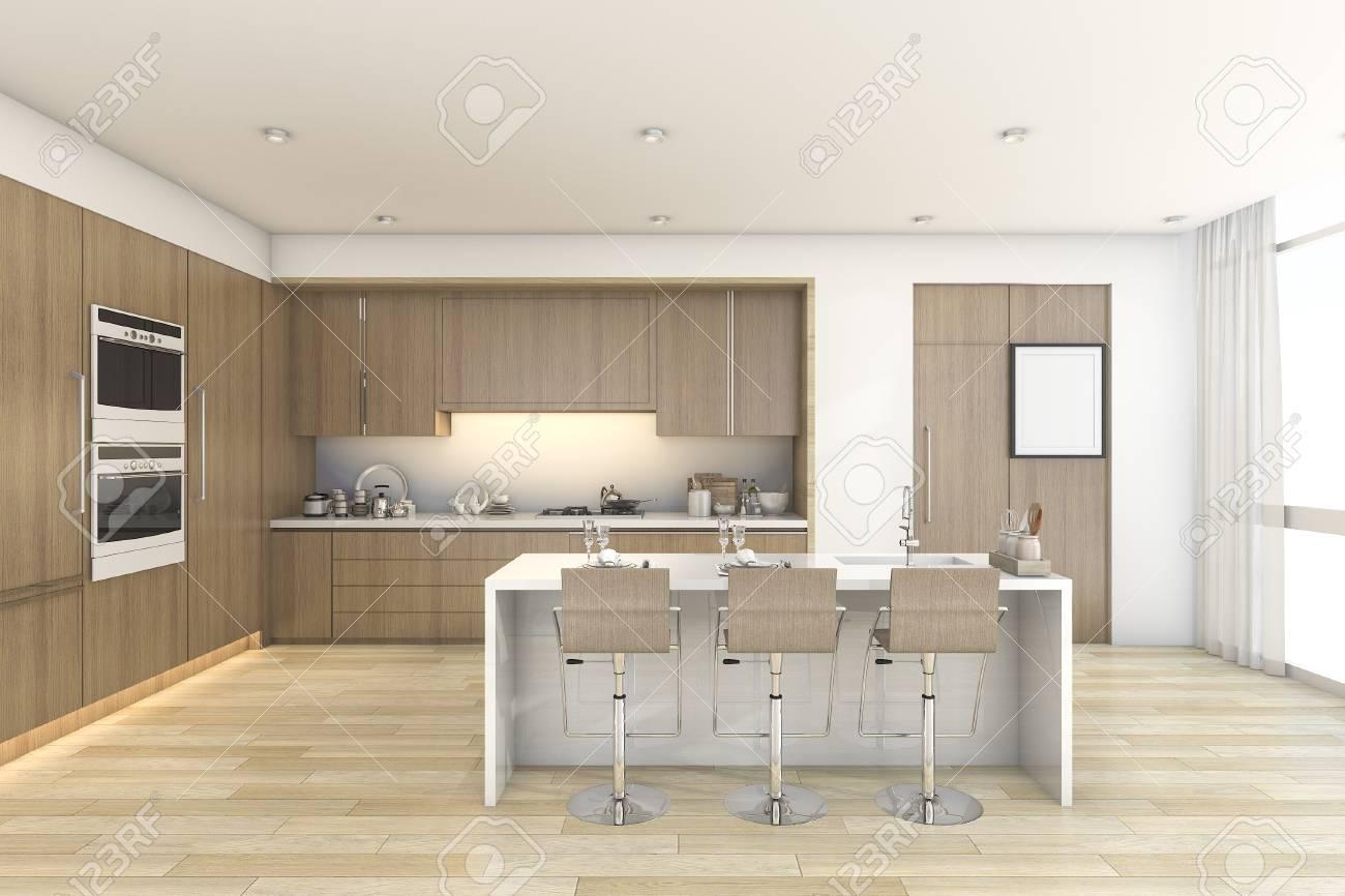 Representación 3D De La Cocina Y Comedor Barra De Madera Cerca De La ...