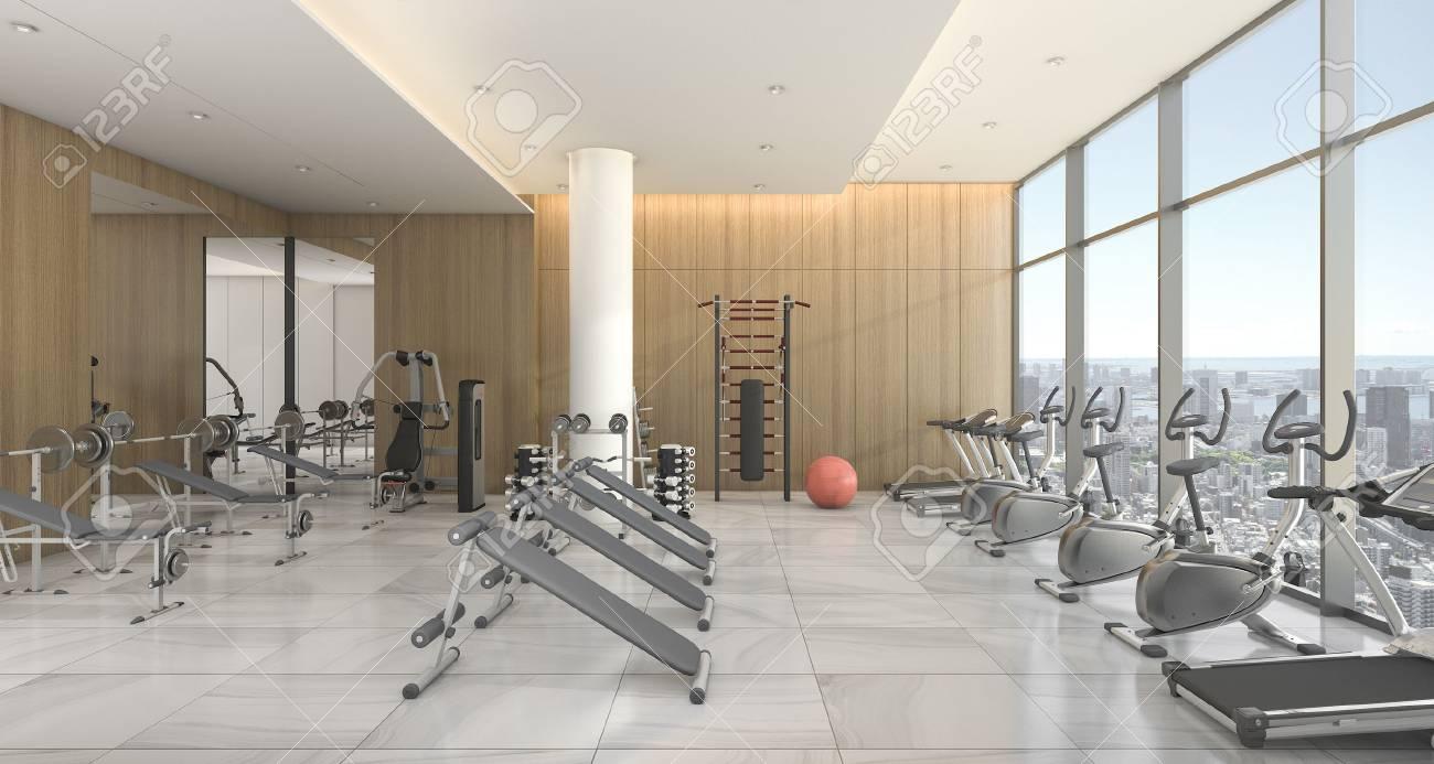 Palestre In Legno Prezzi 3d che rende la palestra di legno moderna e la stanza di addestramento con  la vista della città