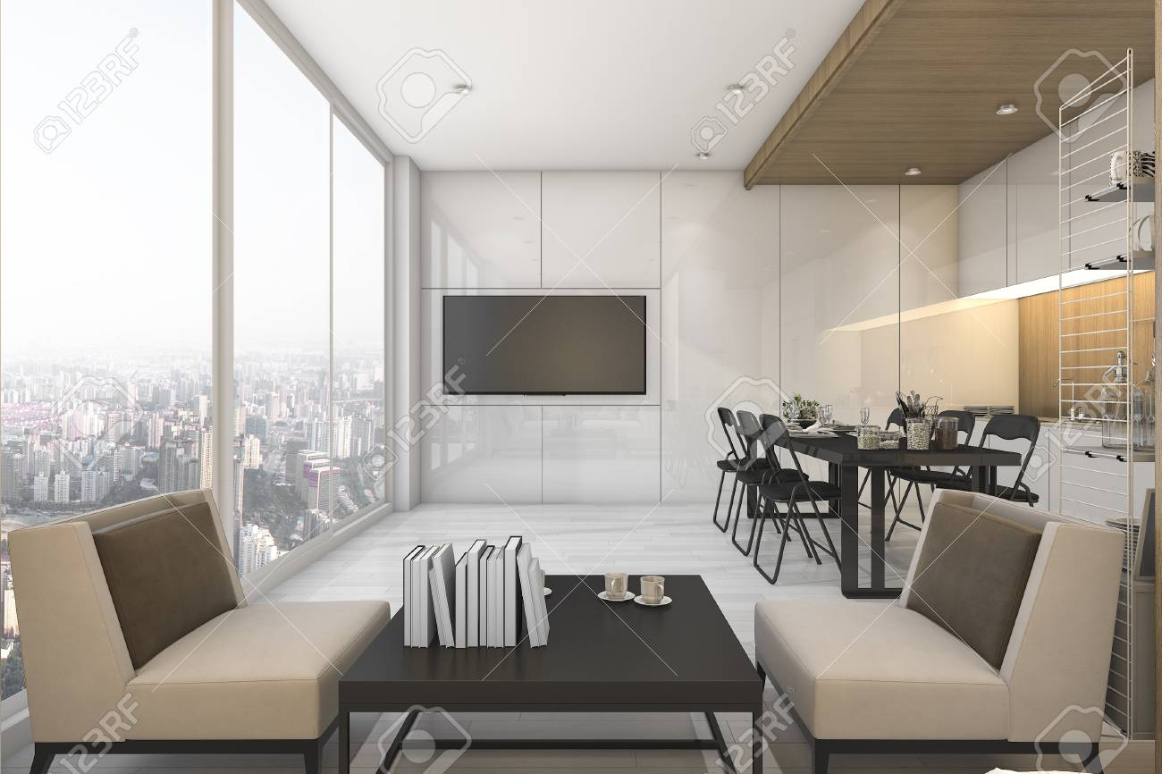 3d Rendering Nice View Kitchen And Living Room On Condominium Stock ...