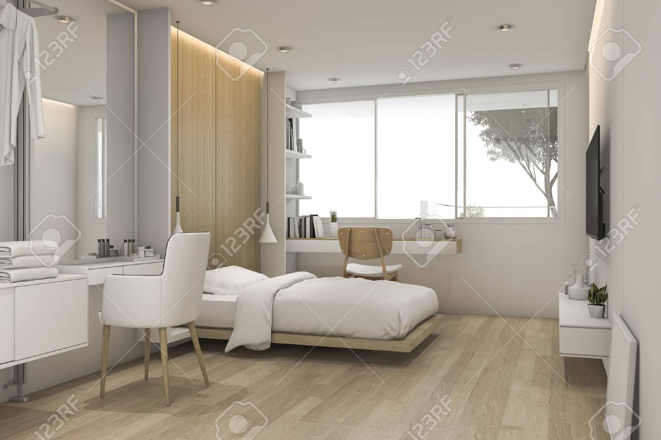 . 3d rendering white bedroom with make up table near walk in closet