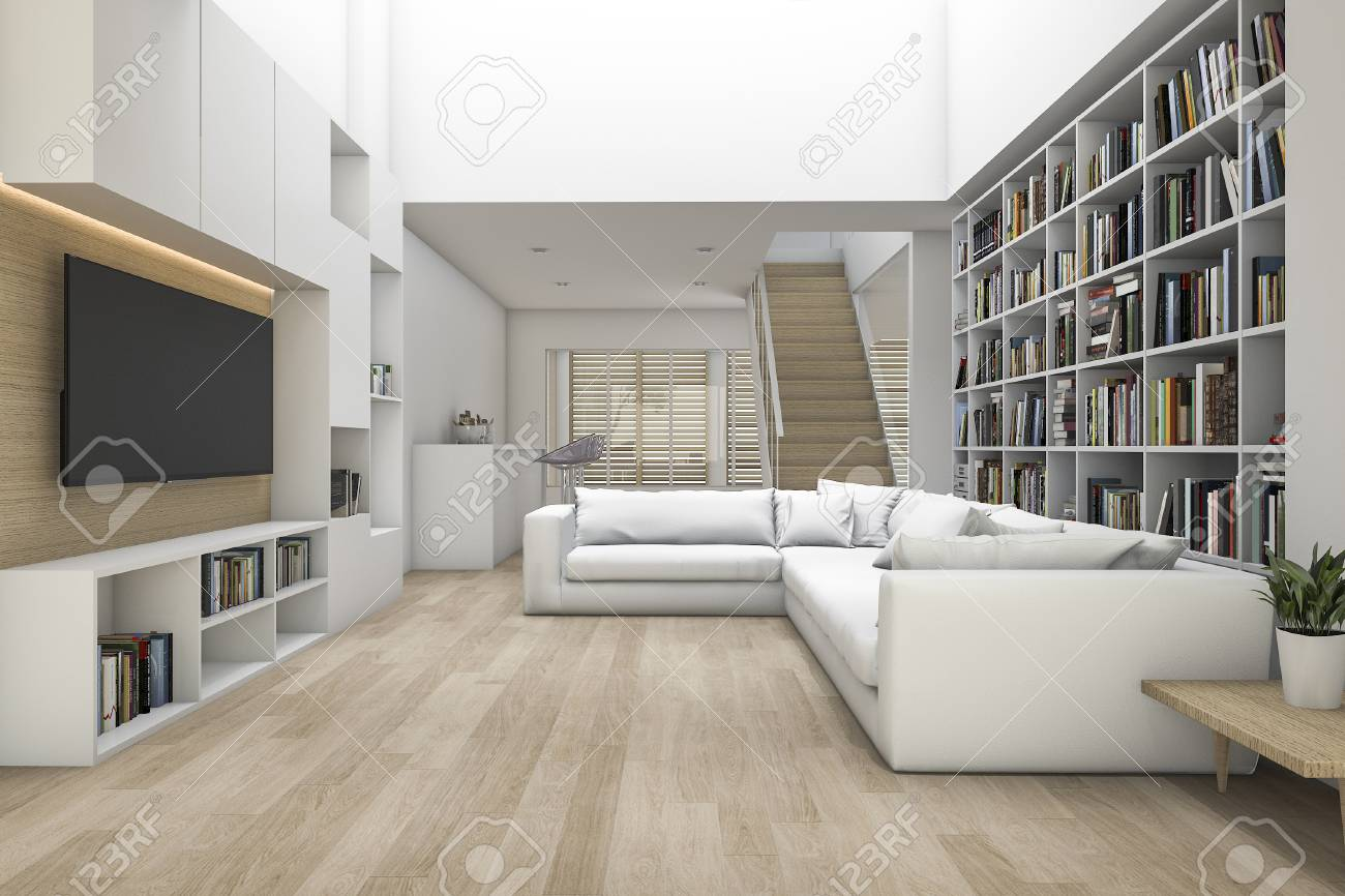3d rendering living room with sofa and tv and bookshelf with..