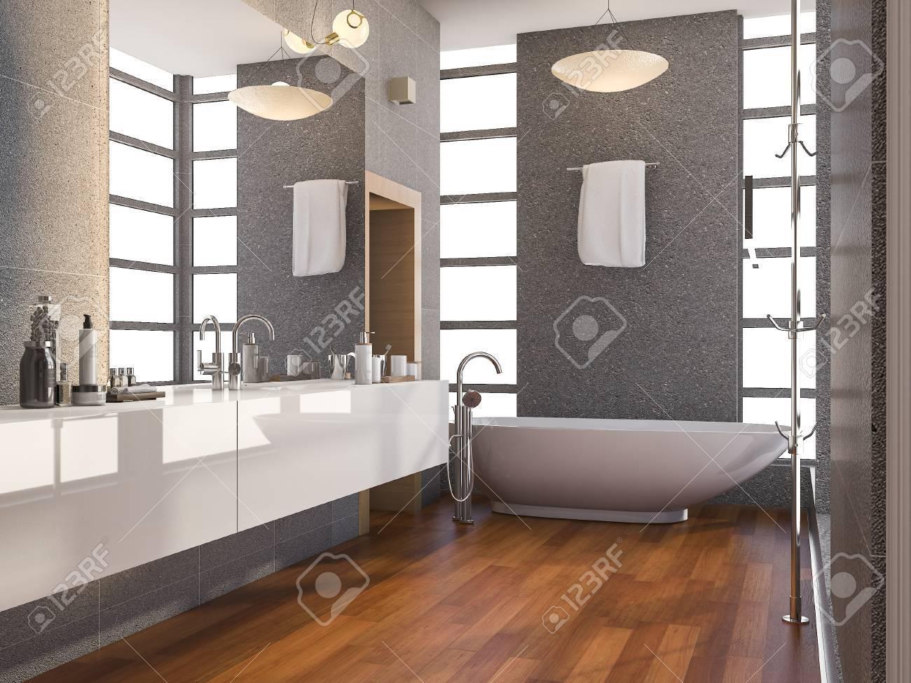 Cuarto De Baño Moderno De Madera De La Representación 3d Con La ...