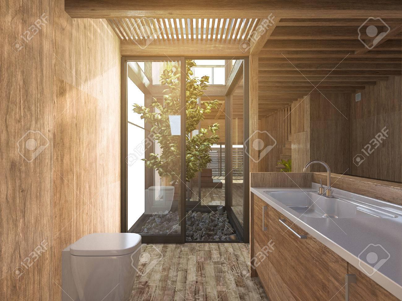 3d, Das Hölzernes Badezimmer Nahe Japanischem Zen Steingarten Im Hölzernen  Haus überträgt Standard