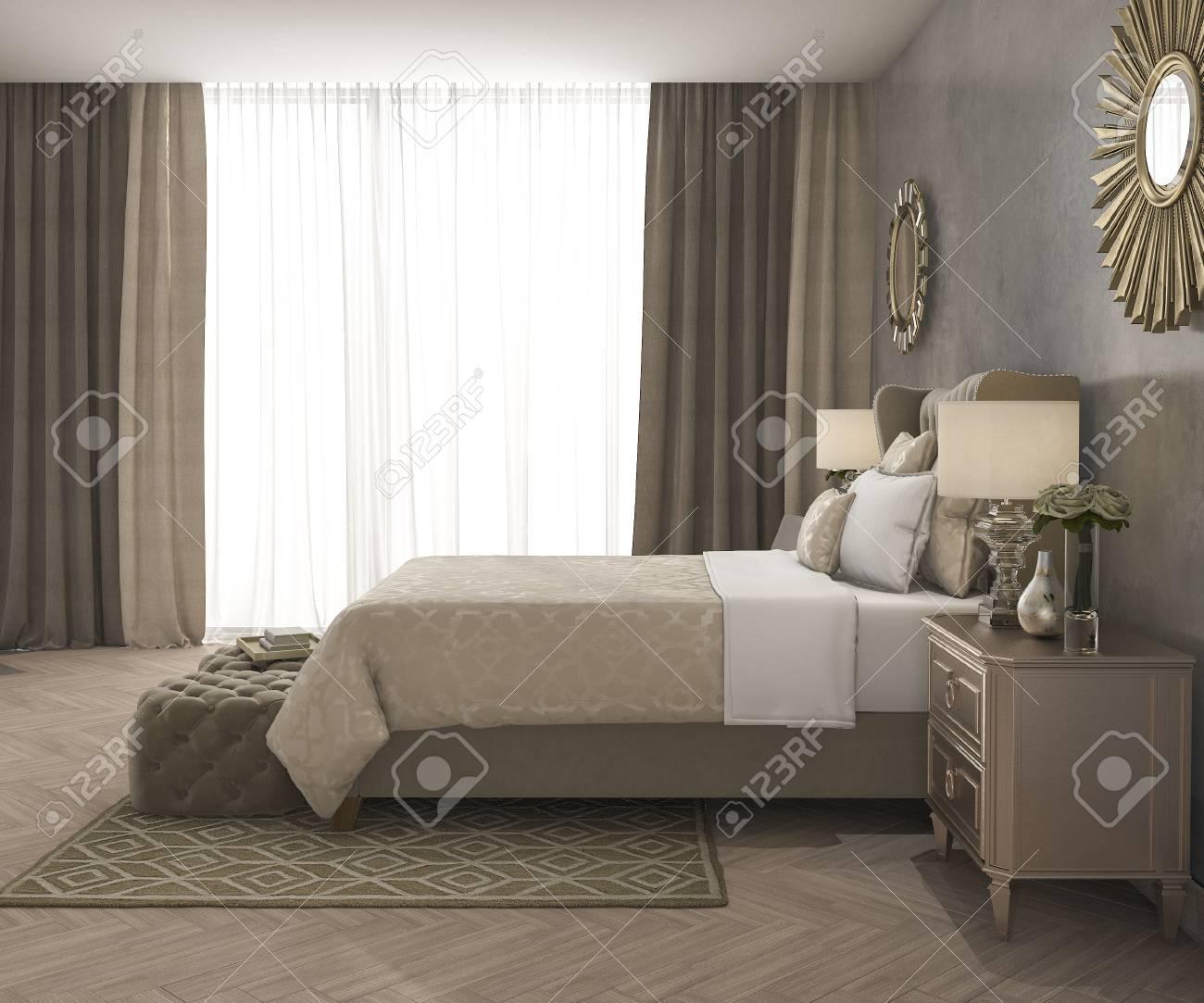 Tende Stanza Da Letto Classica 3d rendering camera da letto classica con narghilè e tenda