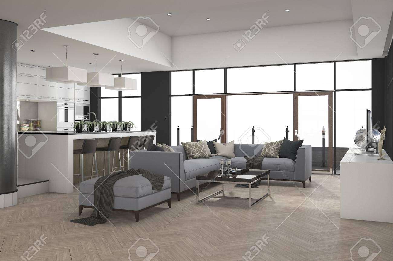 Modernes Esszimmer Und Küche Der Wiedergabe 3d Mit Lebender Zone Nahe  Fenster Standard Bild