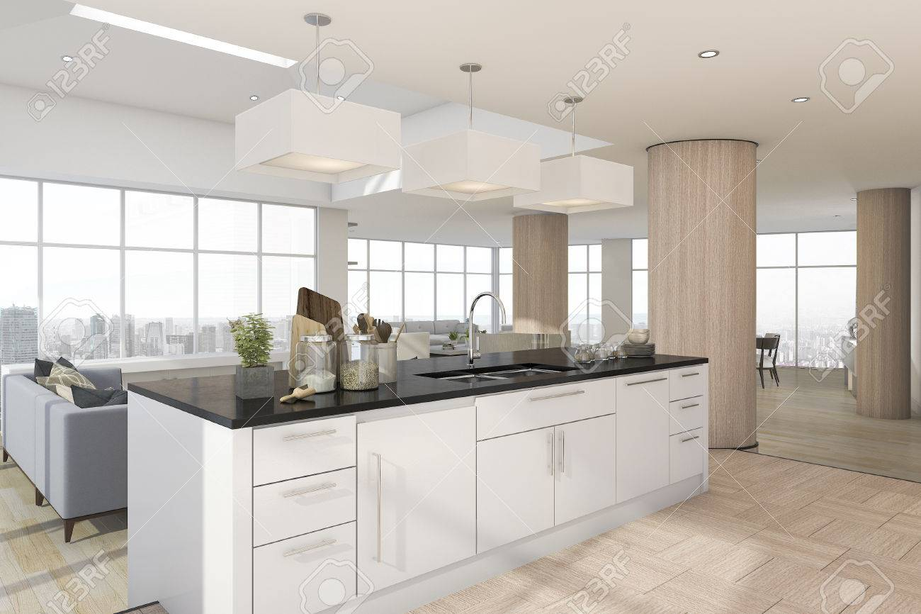 3d rendering kitchen bar with accessory near living room stock photo