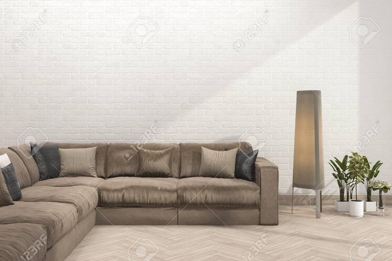 Retro- Braunes Sofa Der Wiedergabe 3d Im Minimalen Wohnzimmer Mit ...