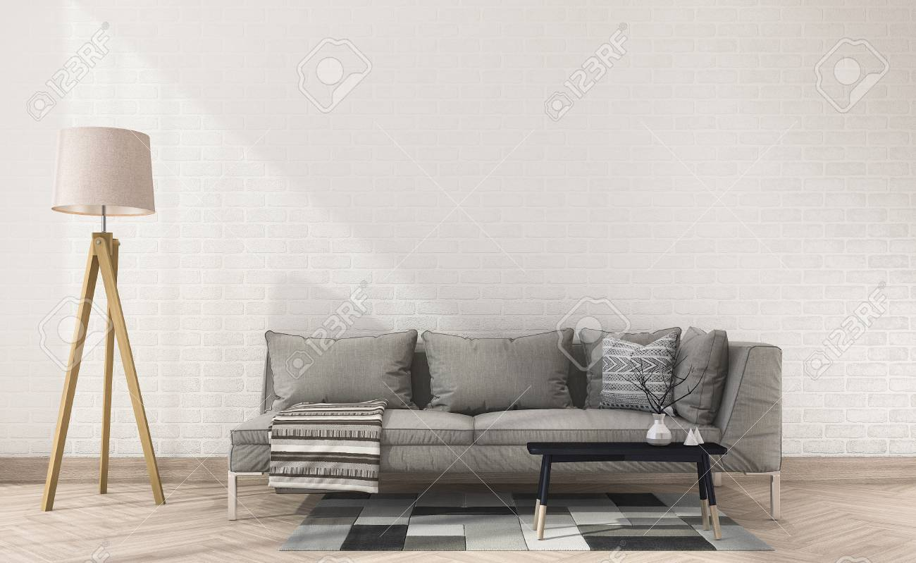 3d Rendering Vintage Fabric Sofa With Cloth Near White Brick Wall And Lamp  Stockfoto   78193350
