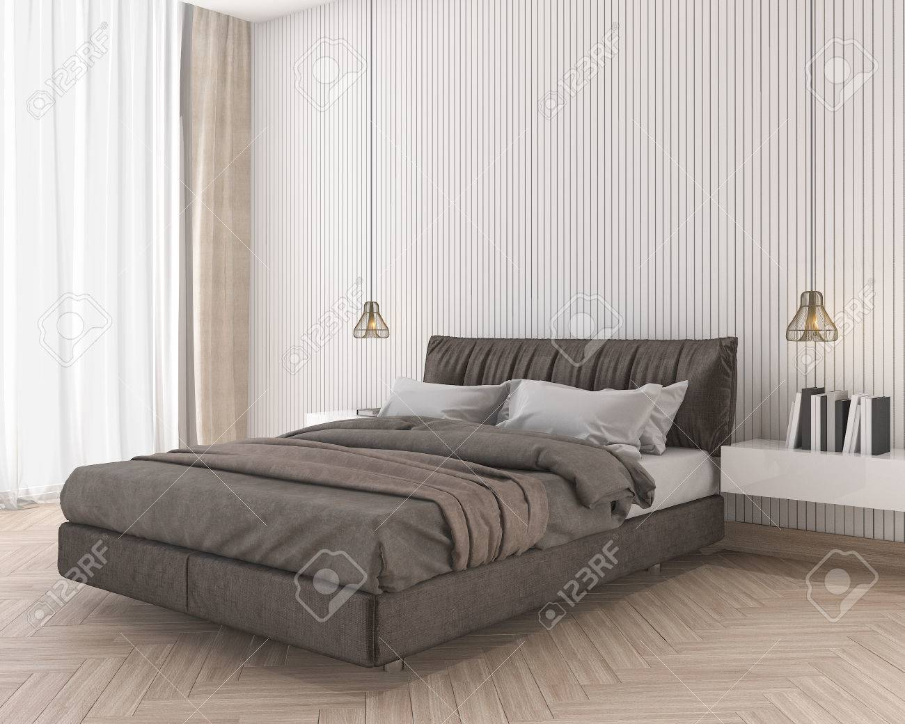 3d Rendering Soft And Comfortable Brown Bed In Minimal Bedroom Stock Photo    78486583