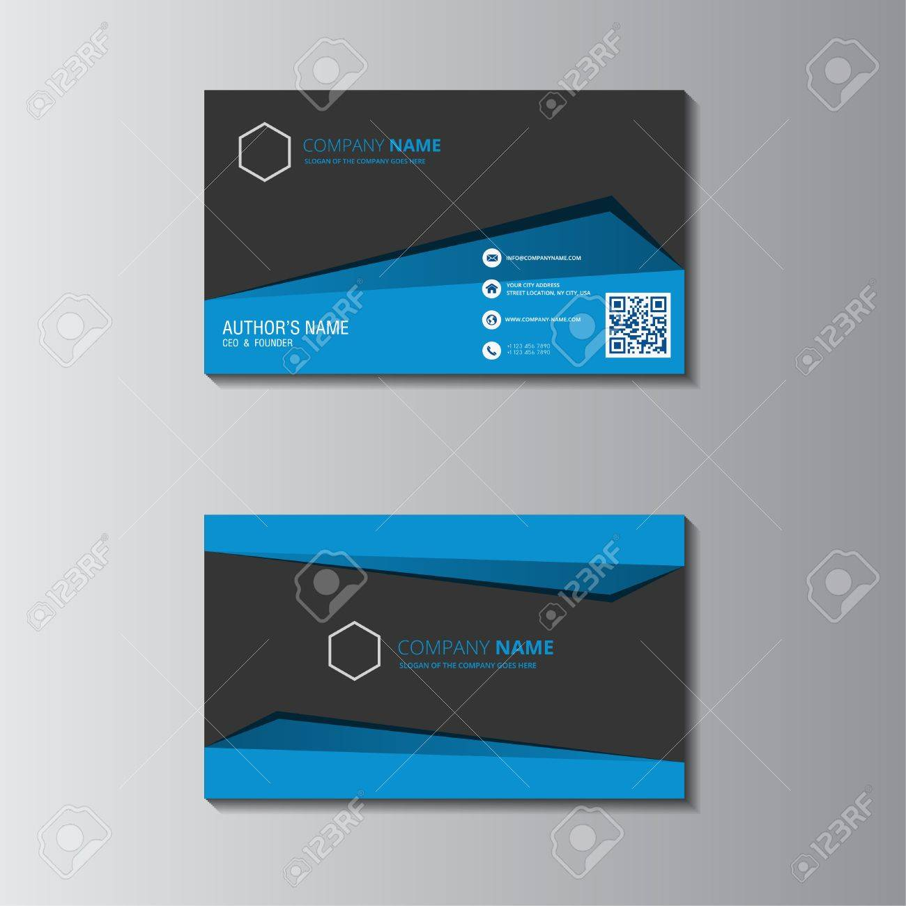 Vector Design Formal Blue Modern Business Card Royalty Free Cliparts ...