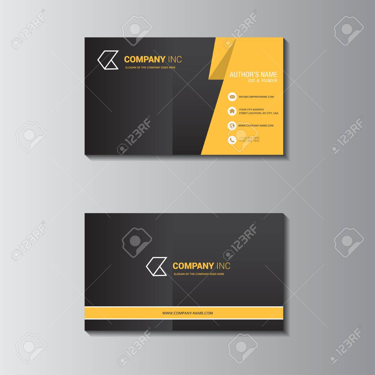 Vector Design Formal Yellow Modern Business Card Royalty Free ...