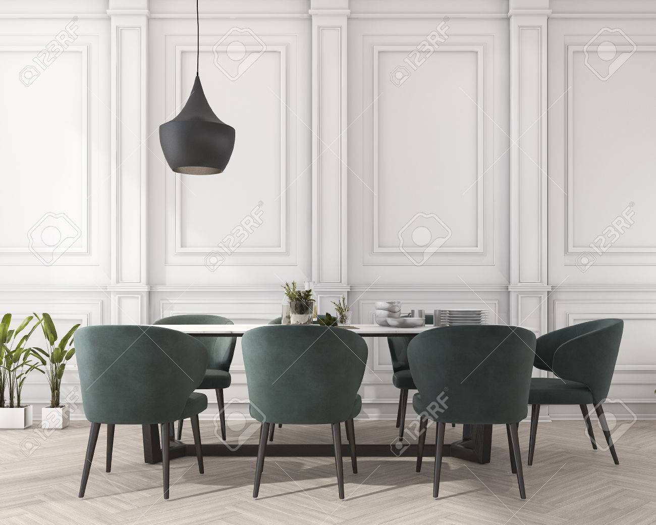 3d rendering classic dining table in white dining room