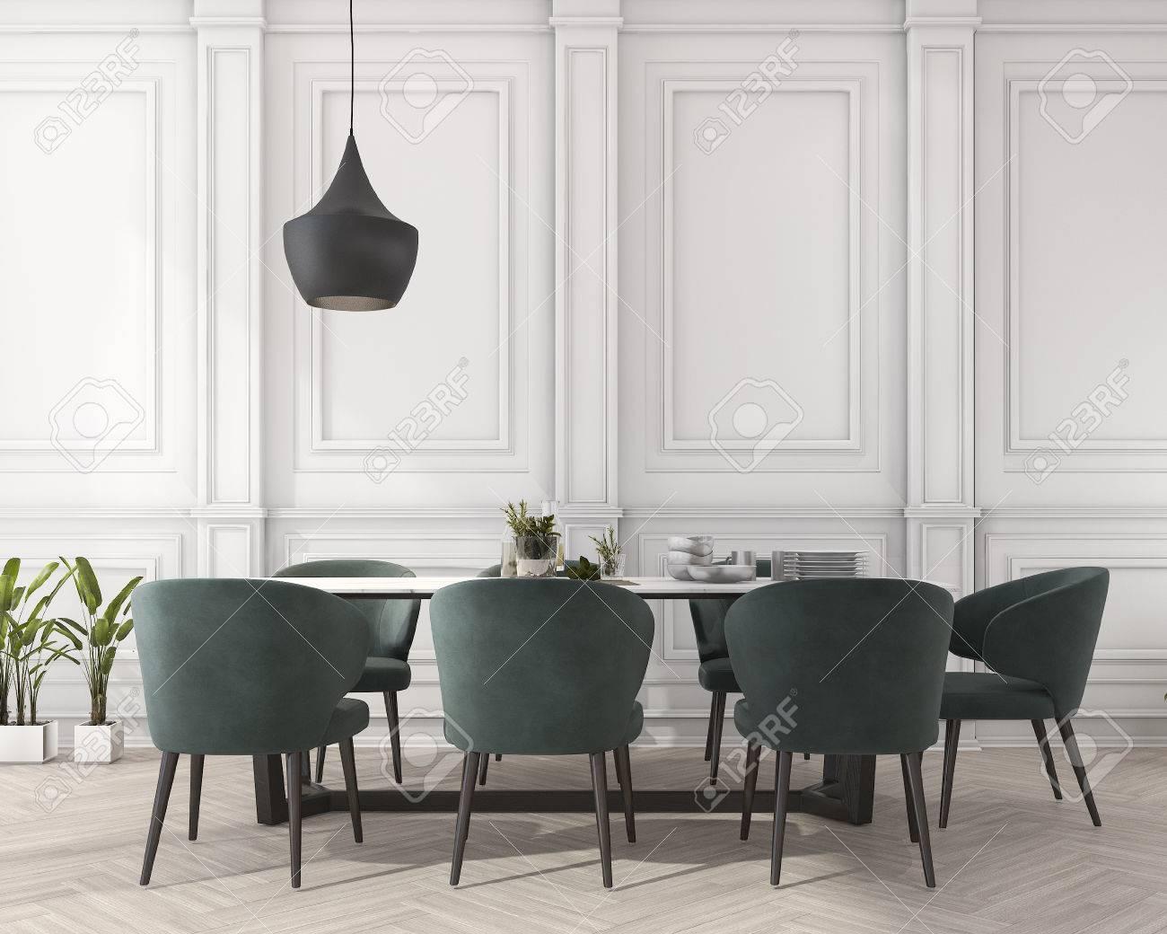 Tavoli Da Pranzo Classici : D rendering tavolo da pranzo classico in sala da pranzo bianco