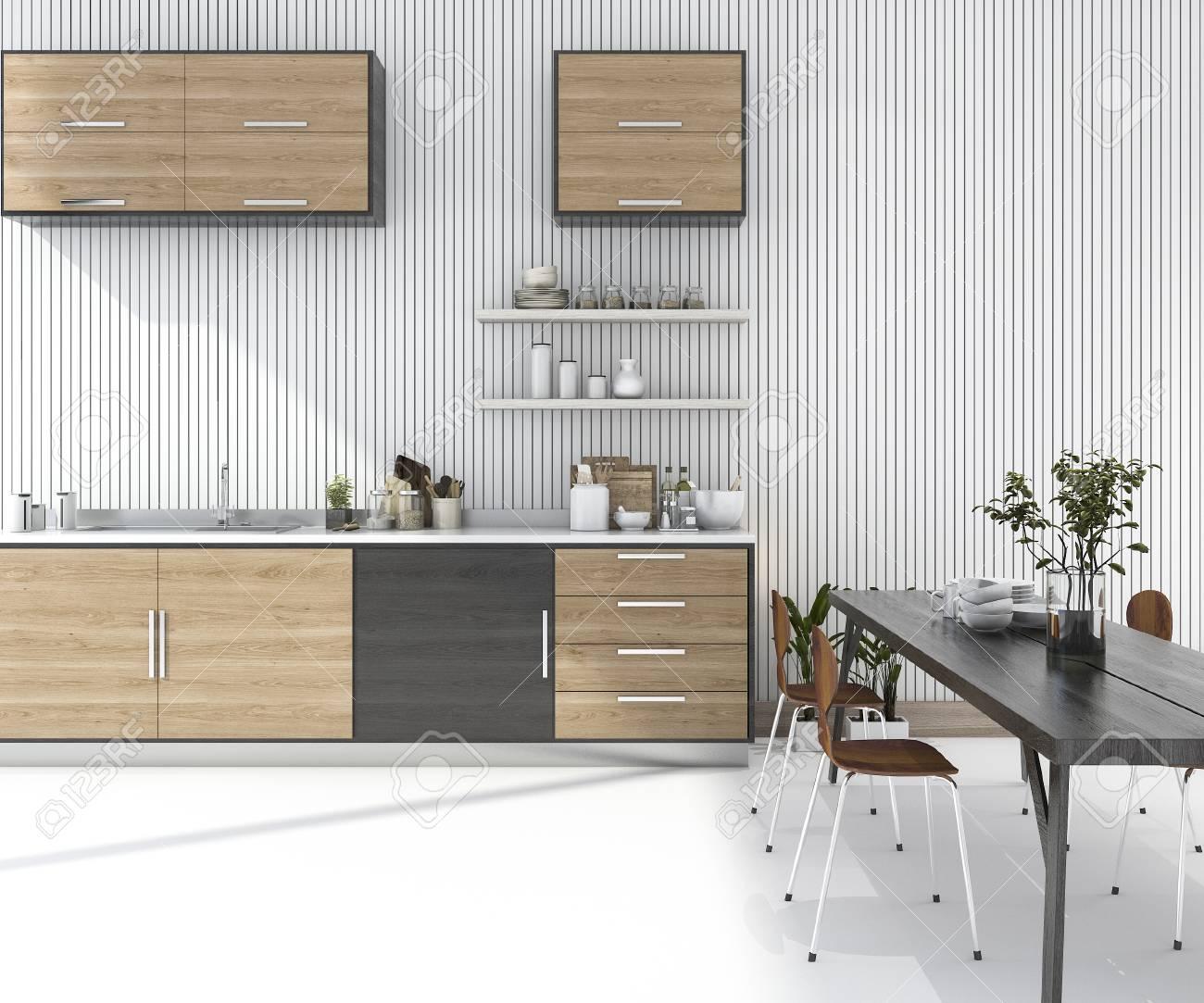 3d representación barra de cocina de madera con mesa de comedor y silla