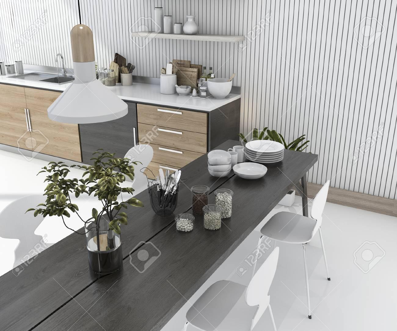 Eitelkeit Esstisch Küche Referenz Von 3d Rendering Holz Küche Bar Mit Und