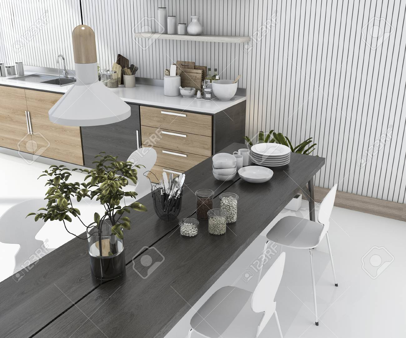 3d rendering wood kitchen bar with dining table and chair stock