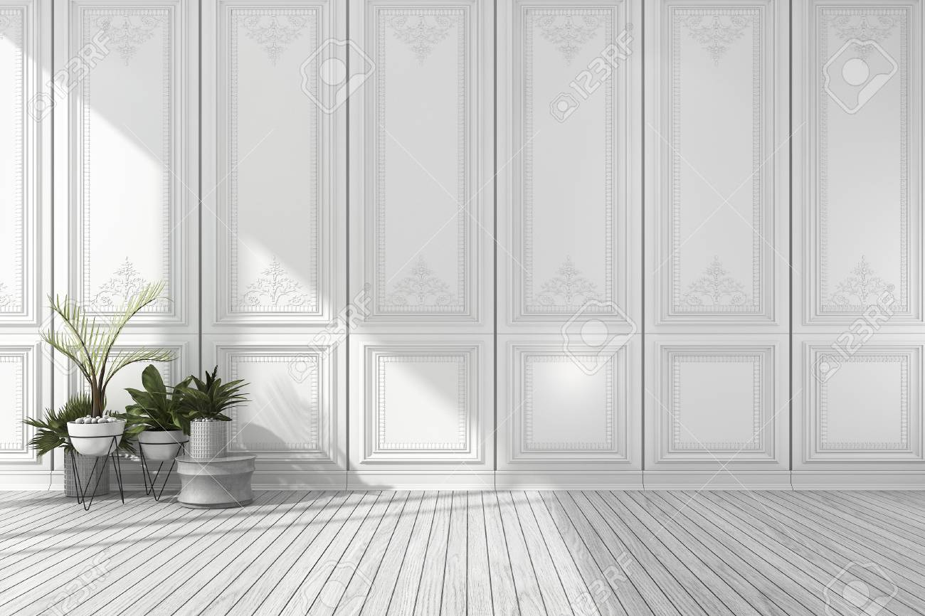 3d rendering empty white classic room with nice wall panel and plant and wood floor stock