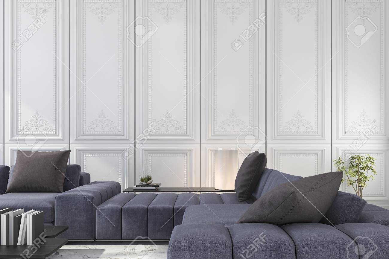 Magnificent 3D Rendering Blue And Brown Sofa Set In Classic Luxury White Pabps2019 Chair Design Images Pabps2019Com