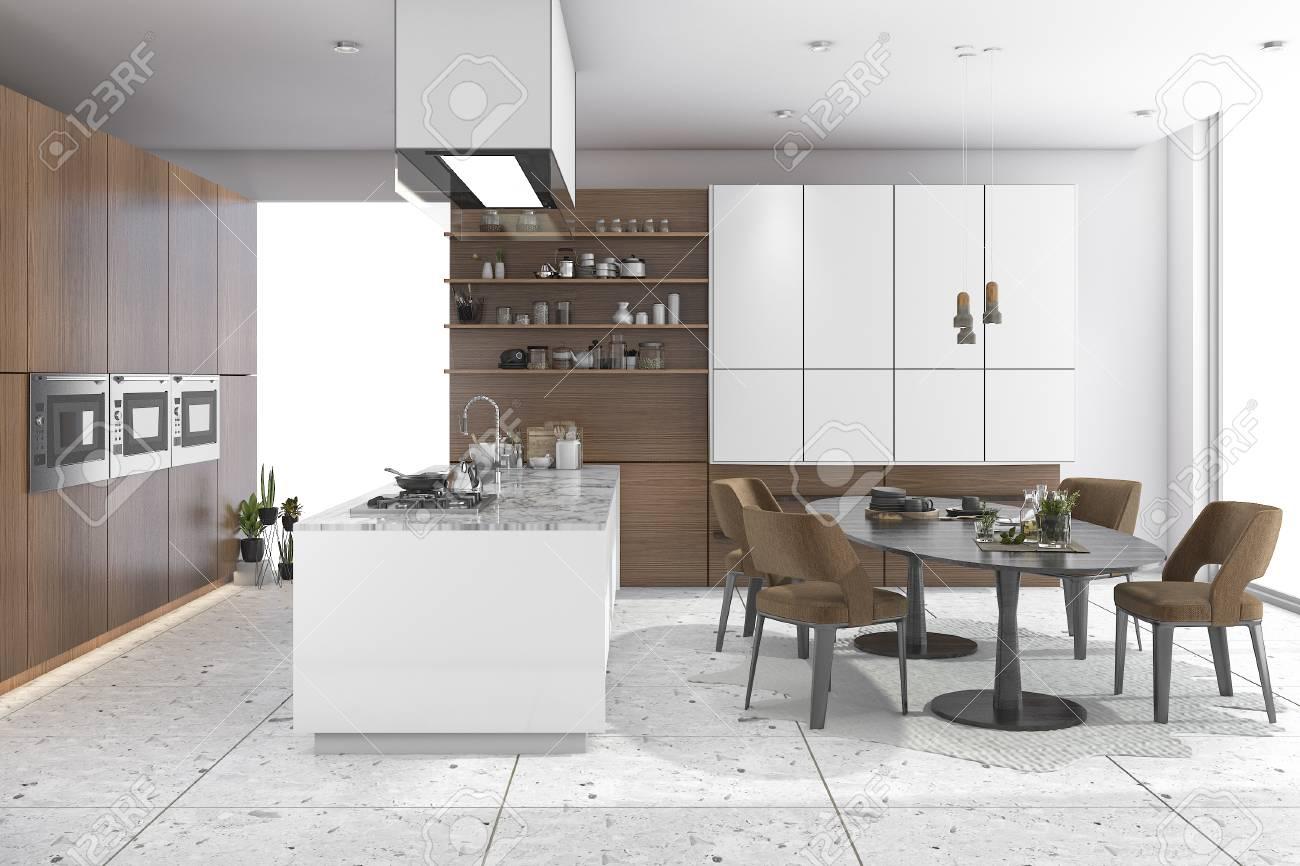 Procesamiento 3d comedor conjunto en cocina de madera y diseño de vida