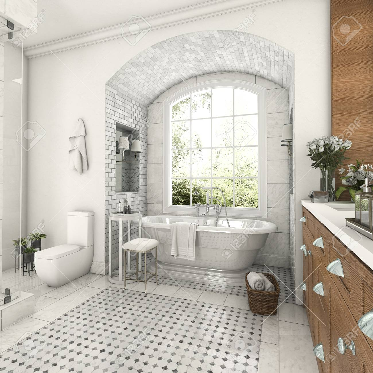 3d Rendering Wood And Tile Design Bathroom Near Window With Arc ...