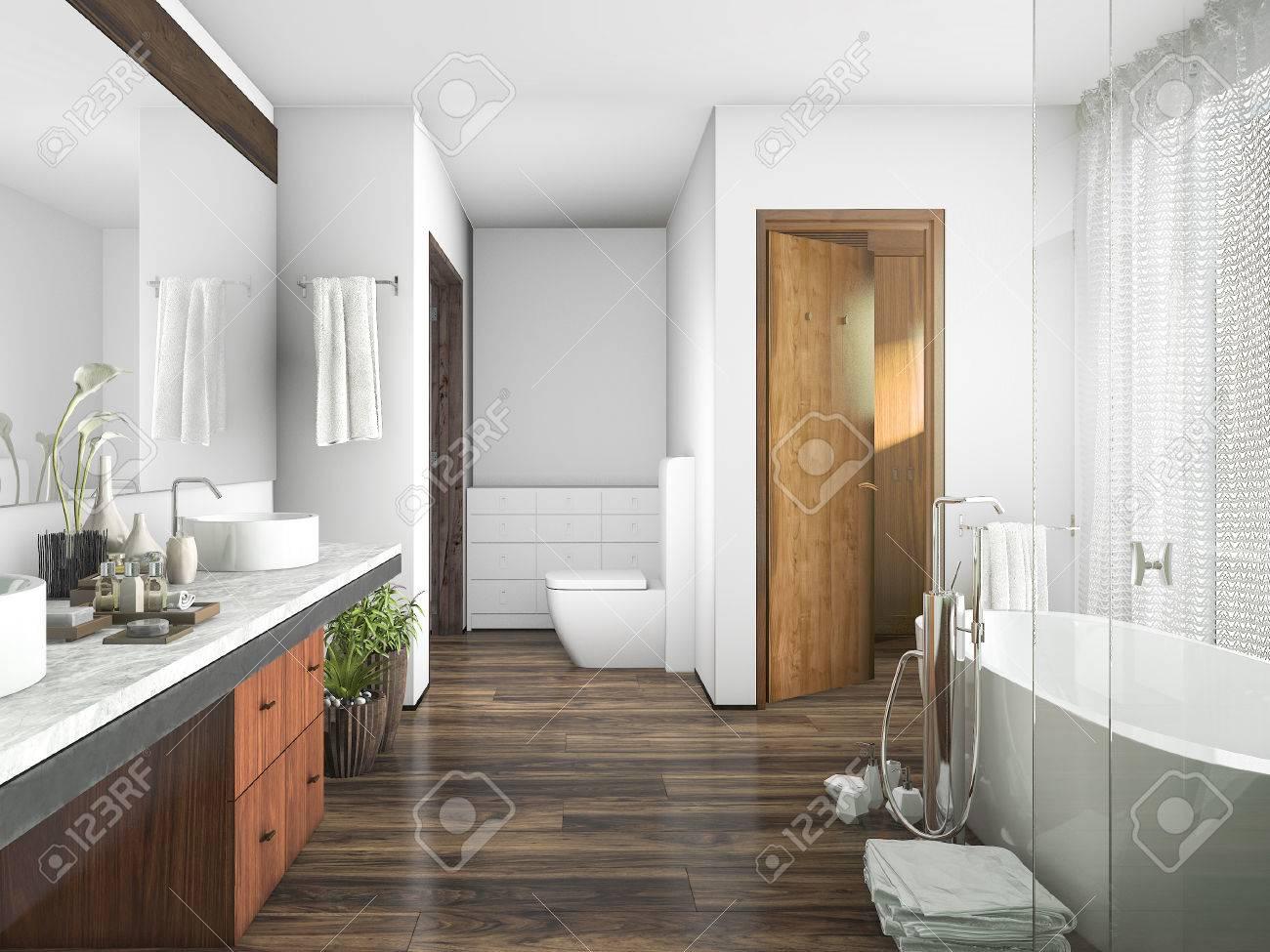 3D Rendering Holz Und Fliesen Design Bad In Der Nähe Von Fenster Ein  Vorhang Standard