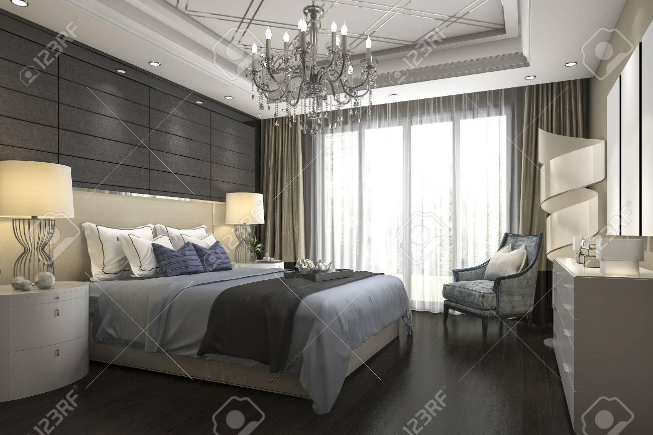 Ensemble De Chambre à Coucher Moderne De Luxe En Hôtel 3d