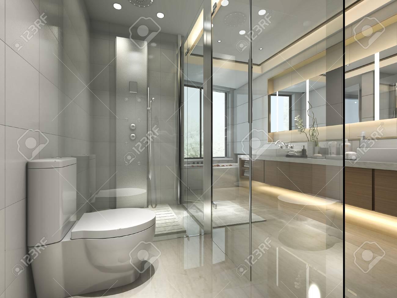 Salle De Bains Classique Moderne Offrant Un Décor De Carrelage De ...