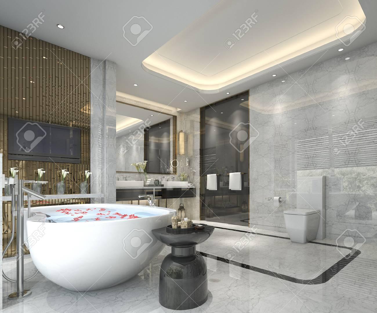 Salle De Bain Luxueuse Moderne ~ salle de bains classique moderne offrant un d cor de carrelage de