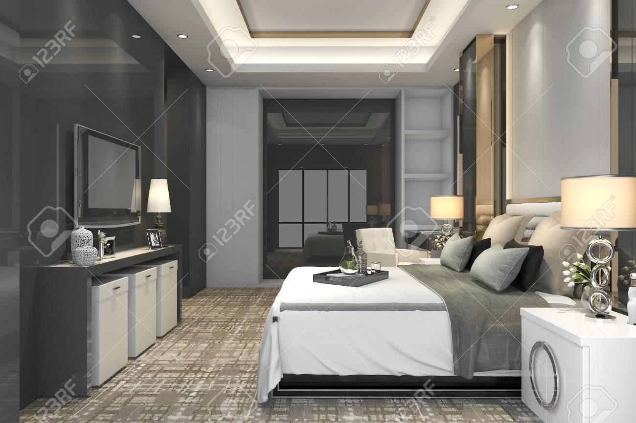 Ensemble De Chambre à Coucher Moderne De Luxe En Hôtel 3d Banque D ...