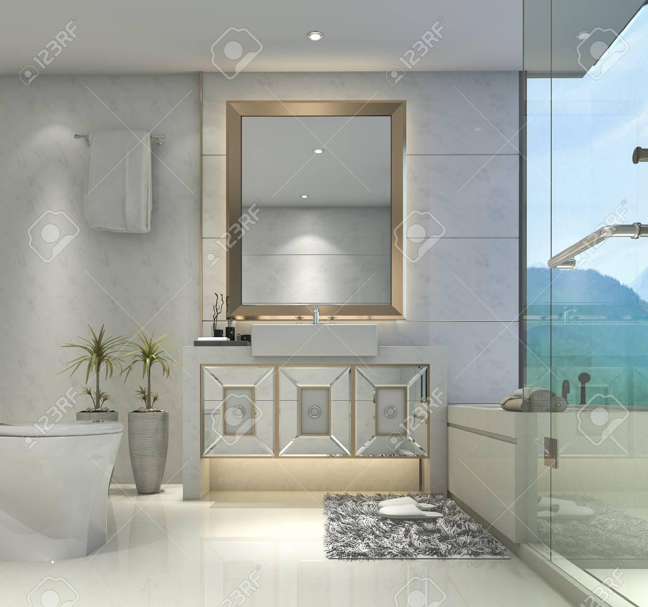 Salle De Bain Classique Moderne Avec Décor De Carreaux De Luxe Avec ...