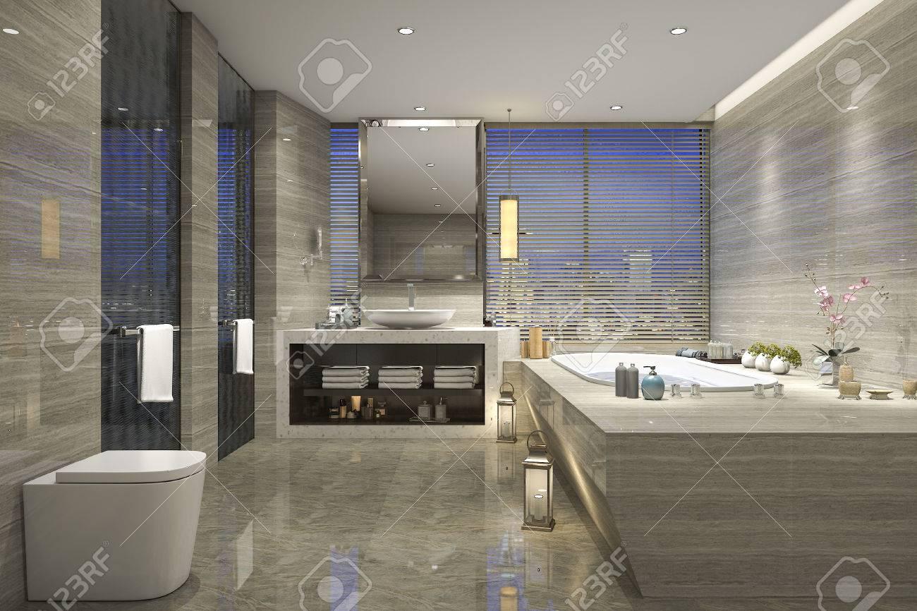 Salle de bain classique moderne avec décor de carreaux de luxe avec belle  vue de la nature à partir de la fenêtre
