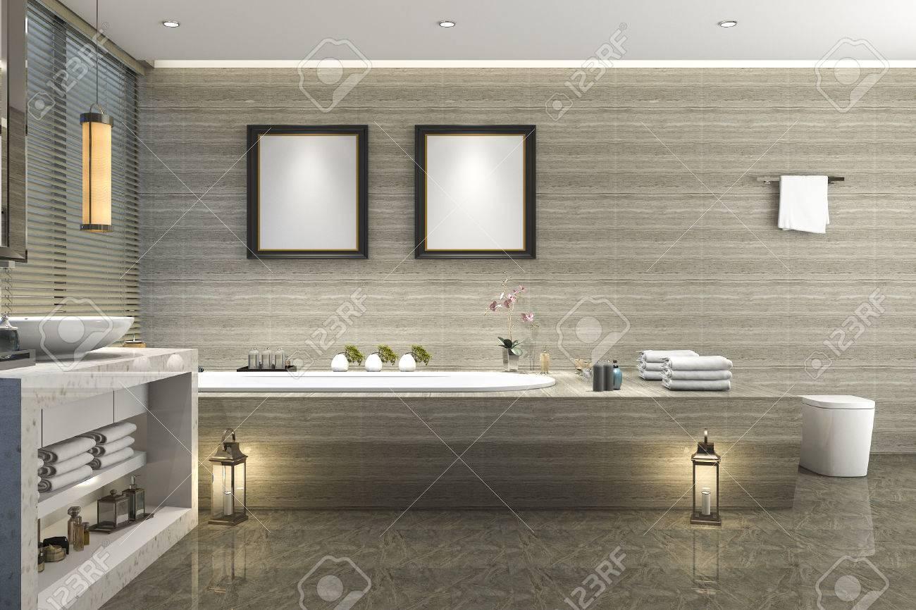 3d Rendering Modernes Klassisches Bad Mit Luxus Fliesen Dekor Mit Schonen Natur Blick Aus Fenster Lizenzfreie Fotos Bilder Und Stock Fotografie Image 81794375