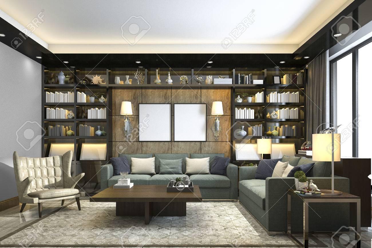 3D Rendering Loft Luxus Wohnzimmer Mit Bücherregal Und Bibliothek  Standard Bild   82013531