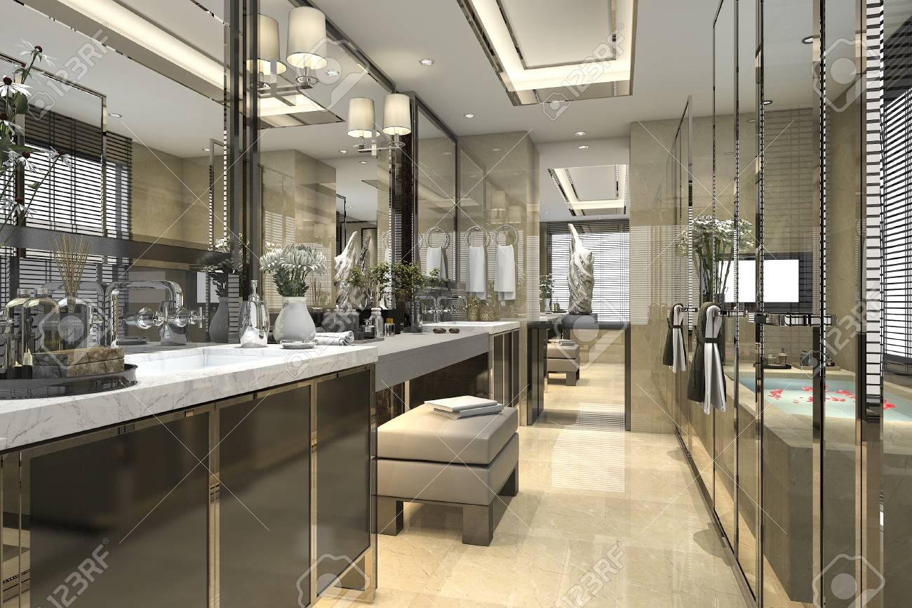 Genial Banque Du0027images   Salle De Bains Classique Moderne à Décoration 3D Avec  Décor De Carreaux De Luxe Avec Belle Vue Depuis La Fenêtre
