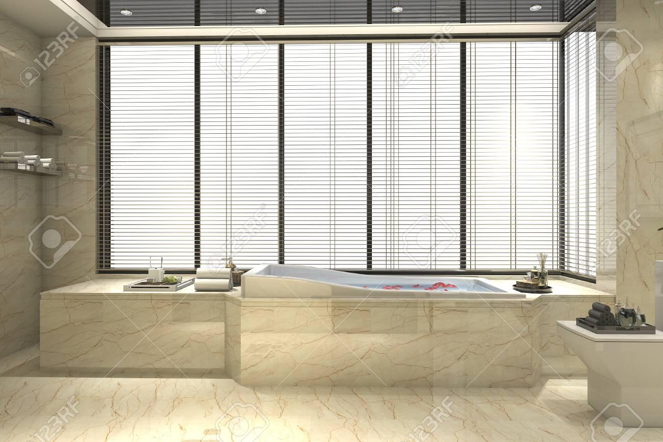 Banque Du0027images   Salle De Bains Classique Moderne à Décoration 3D Avec  Décor De Carreaux De Luxe Avec Belle Vue Depuis La Fenêtre