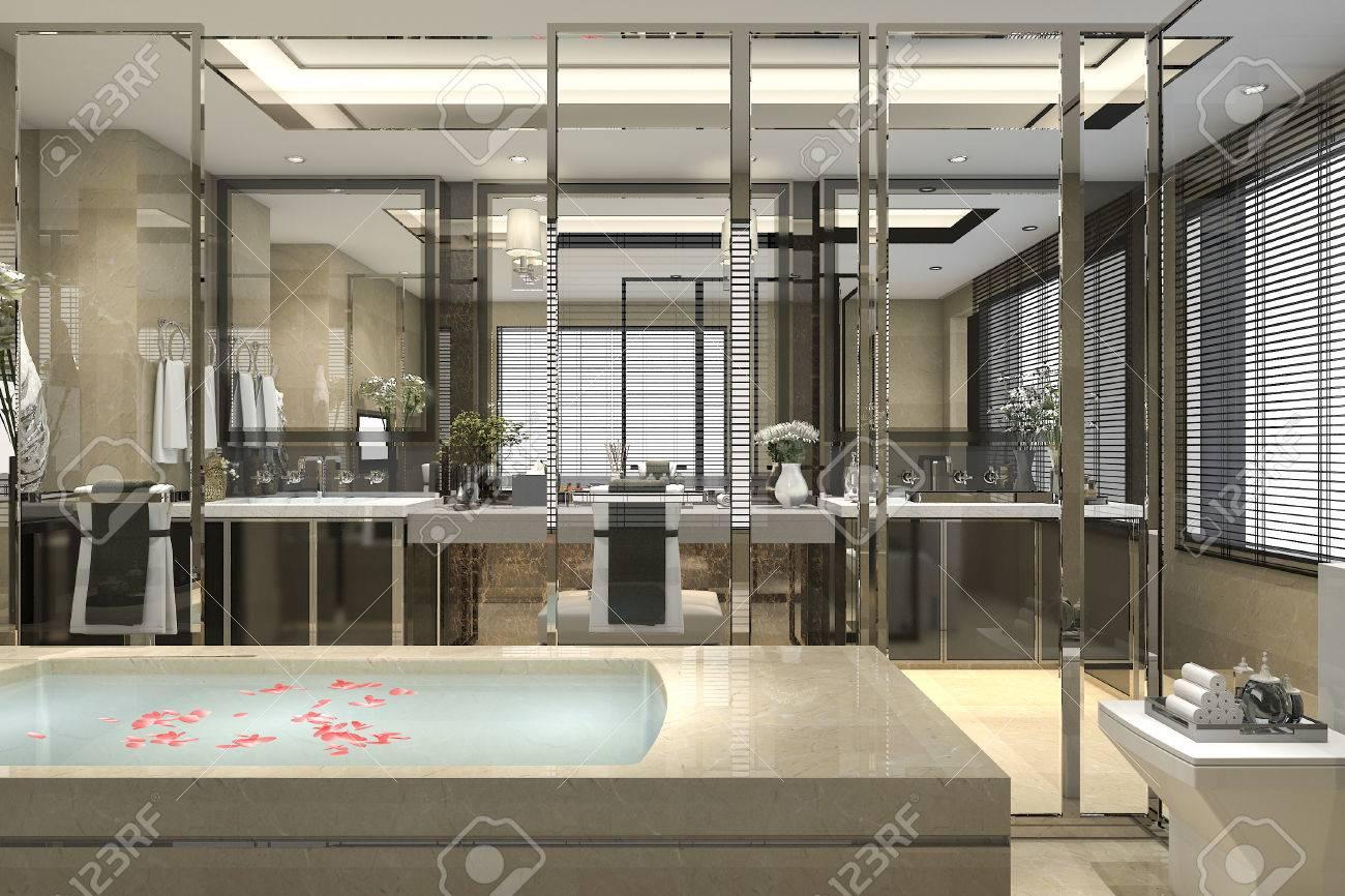 Representación 3d del cuarto de baño moderno del cuarto de baño con  decoración de baldosas de lujo con vista agradable desde la ventana