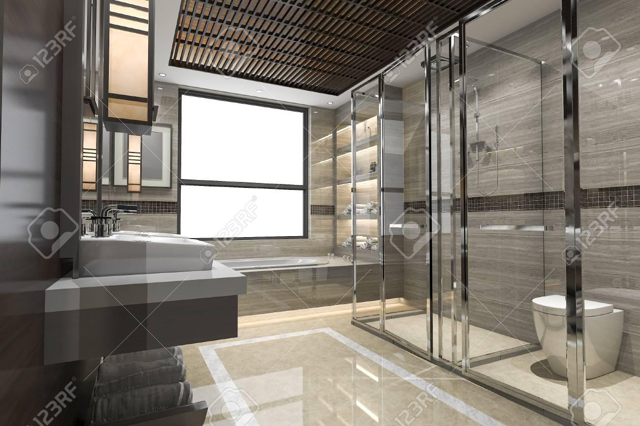 3D rendant la salle de bain loft moderne avec le décor de carrelage de luxe  avec belle vue depuis la fenêtre