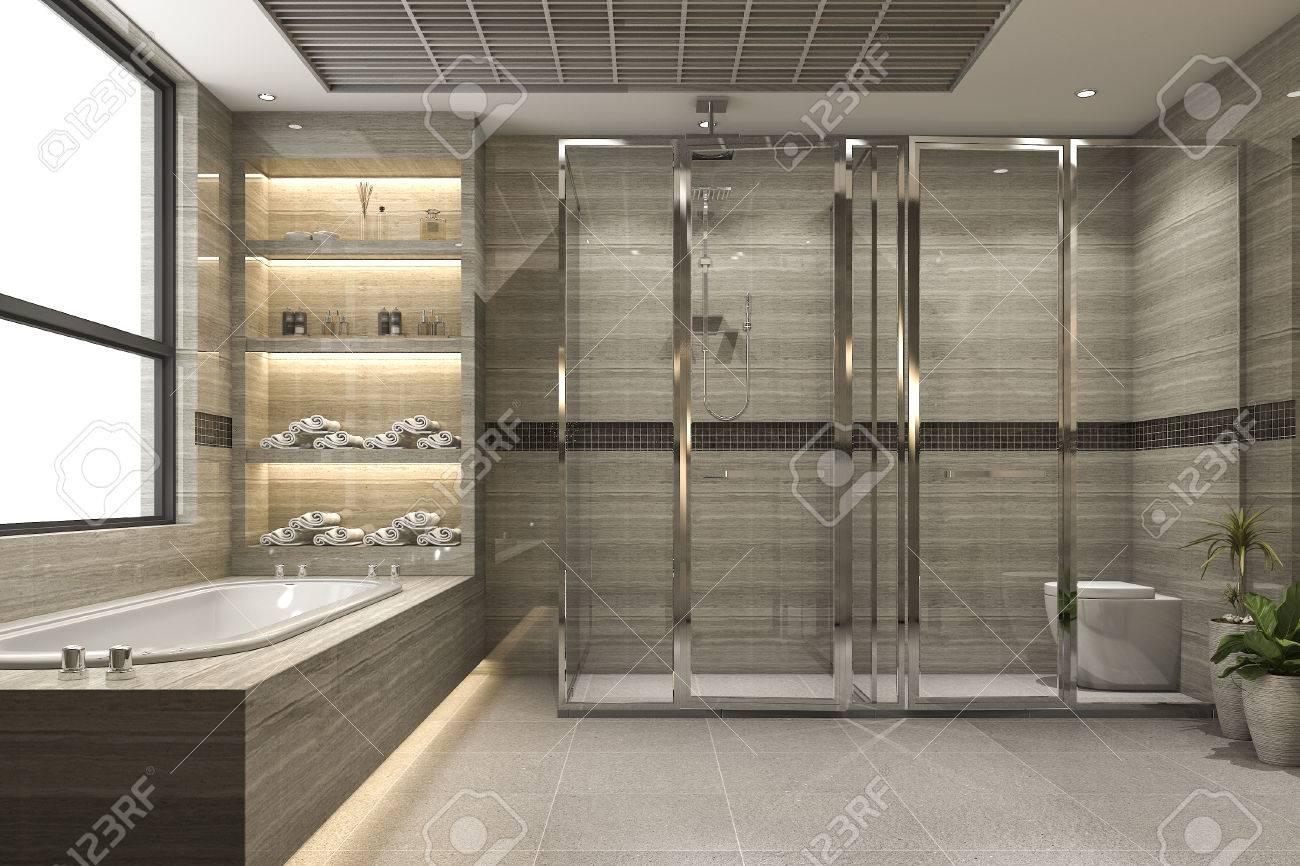3d Rendant La Salle De Bain Loft Moderne Avec Le Decor De Carrelage