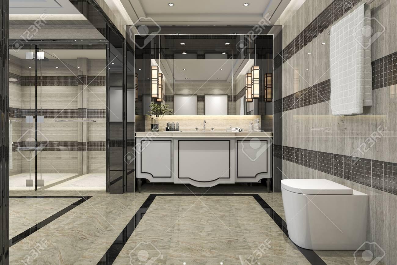 3D-Rendering Modernes Loft-Badezimmer Mit Luxus Fliese Dekor Mit ...