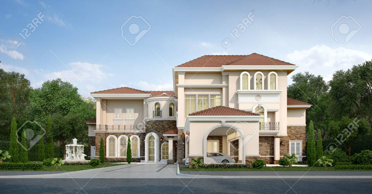 3d Rendering Modern Classic House With Luxury Design Garden Stock Photo    83152825