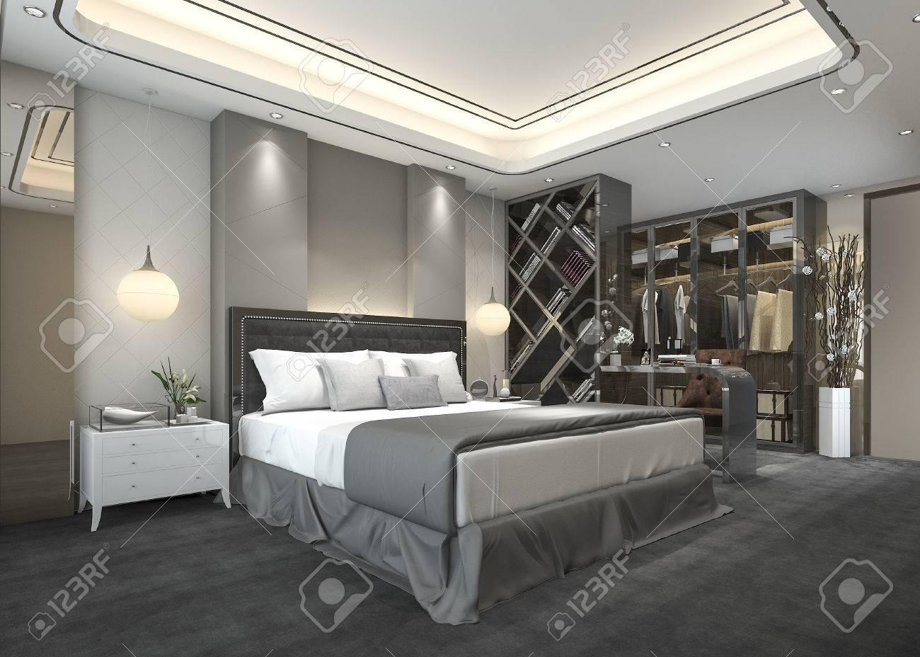 . 3d rendering luxury modern bedroom suite in hotel with wardrobe