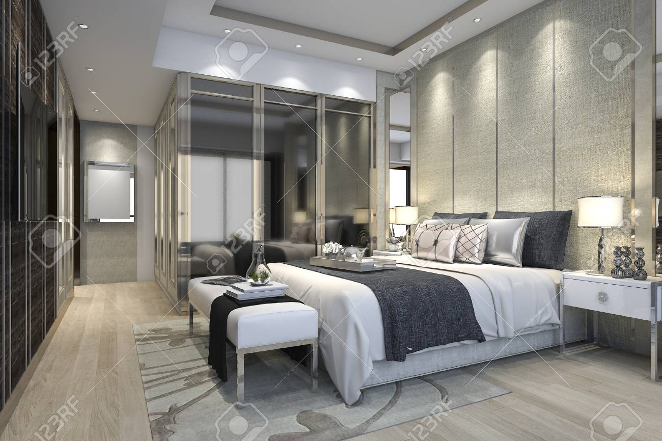3d Rendering Luxury Modern Bedroom Suite In Hotel With Wardrobe Stock Photo Picture And Royalty Free Image Image 84051419